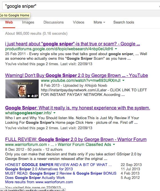 Google search for Google Sniper